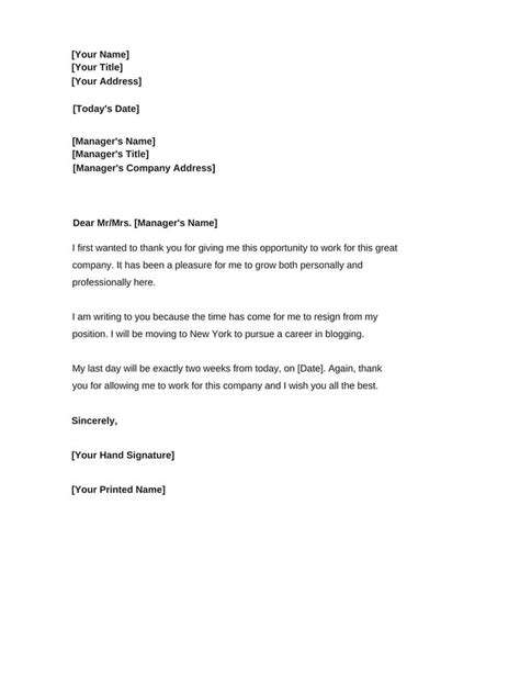 written resignation letter resigning example 21 infinite likewise