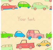 Doodle Cute Cars Seamless Background In Pastel Colors With