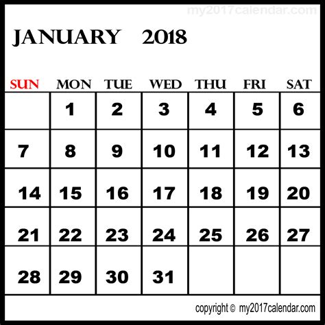printable daily calendar january 2018 january 2018 printable calendar printable monthly calendars