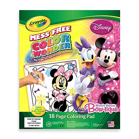 minnie coloring pages crayola buy crayola 174 color wonder minnie mouse coloring pad from