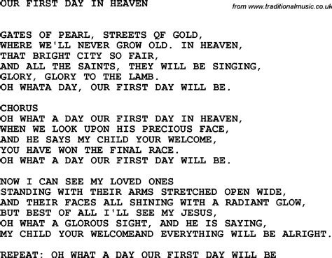 song lyrics in country southern and bluegrass gospel song our day