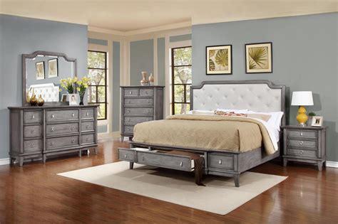 Grey King Bedroom Set by Soflex Emmalee Grey Button Tufted King Storage Bedroom Set
