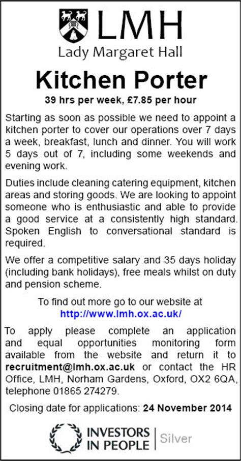 Kitchen Porter Vacancies In Oxford Margaret Require Kitchen Porter