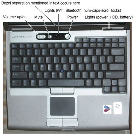 where is the power button on the dell latitude d610