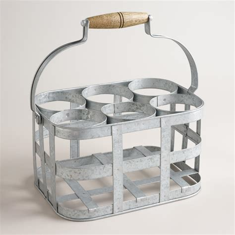 galvanized metal 6 bottle wine caddy world market