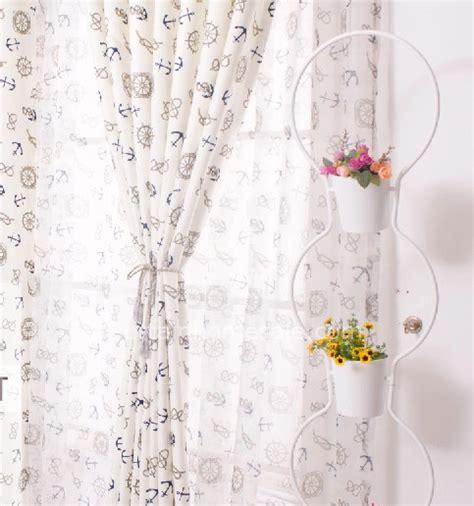 cheap shabby chic curtains shabby chic nautical print white cotton cheap pinch pleat