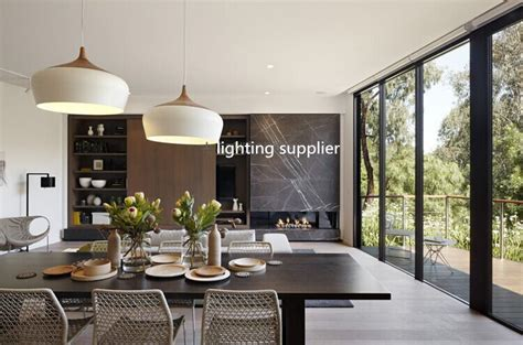 dining room hanging lights modern pendant light wood and aluminum l black white restaurant bar coffee dining room led