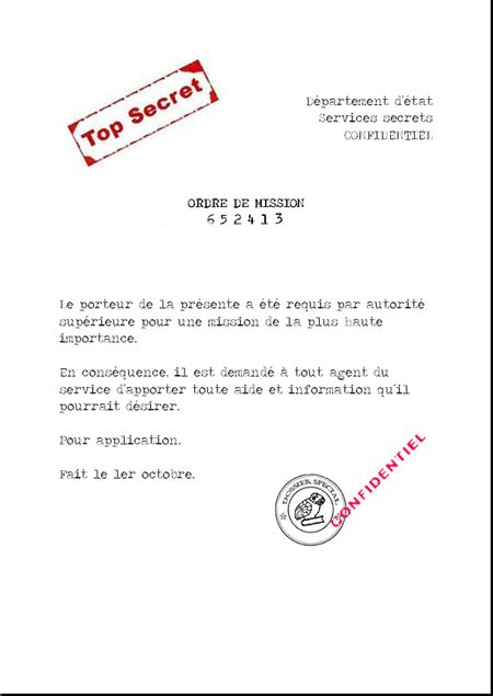 Exemple De Lettre De Démission Word modele ordre de mission doc document