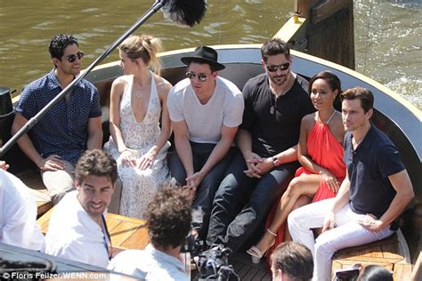 boat trip the cast amber heard wears plunging dress as magic mike xxl cast