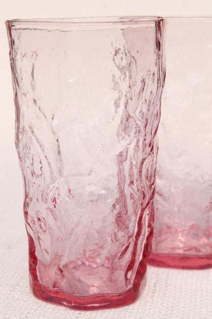 rose pink crinkle glass tumblers mod vintage seneca