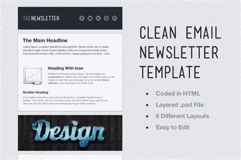 Clean Email Newsletter Template Medialoot Clean Email Template