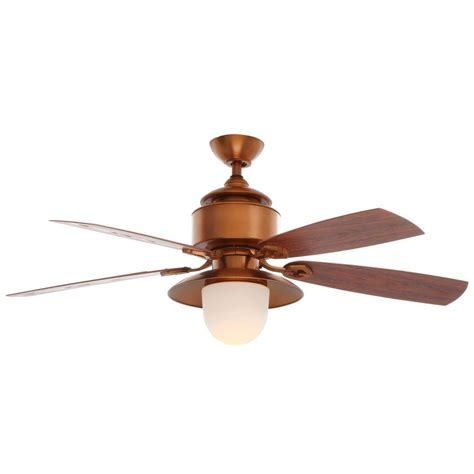 copper ceiling fan with light hton bay rockport 52 in indoor oil rubbed bronze