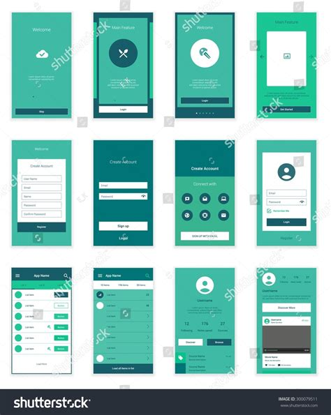 mobile app layout template mobile screens user interface kit modern stock vector