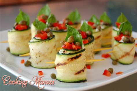 german canapes grilled zucchini rolls with garden cheese cooking