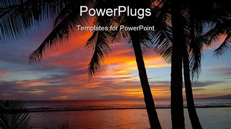 hawaiian powerpoint template powerpoint template a number of palm trees with sea in