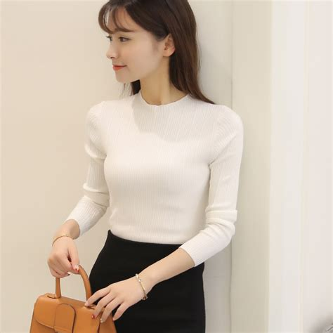 Basic V Knitted Blouse Diskon 2017 aliexpress buy 2017 solid color sweater autumn knitted basic shirt pullovers