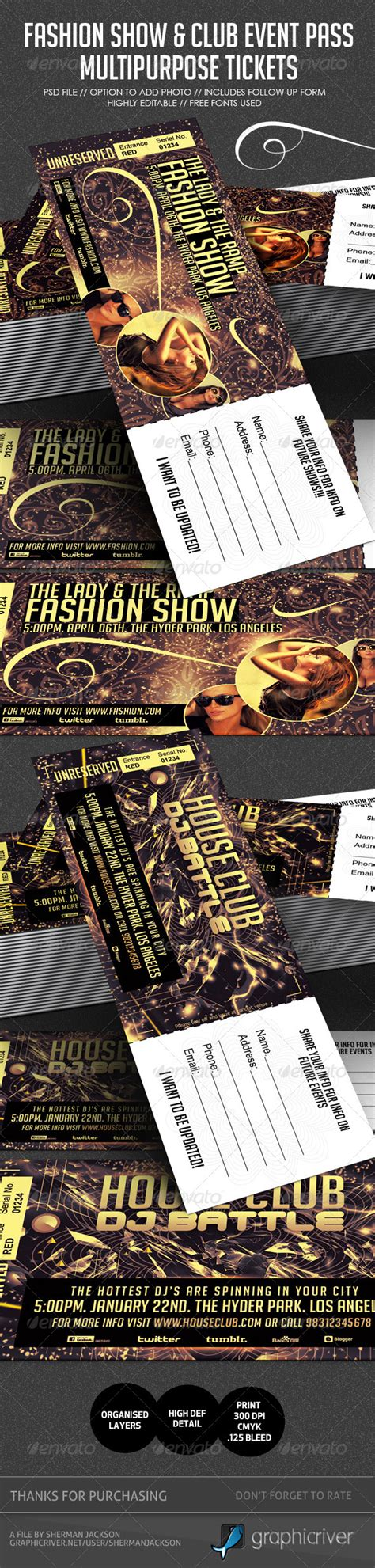 fashion show ticket template vip concert passes template 187 dolunai