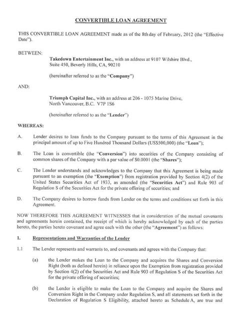 convertible loan agreement template green hygienics holdings inc form 8 k ex 10 1