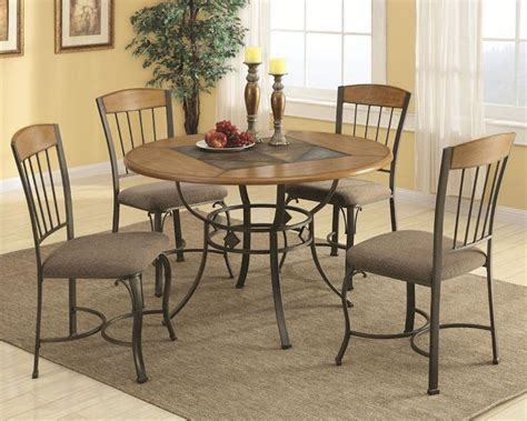 Wood And Metal Dining Table Sets Coaster Dining Table Set W Metal Legs And Wood Top Co 120771set