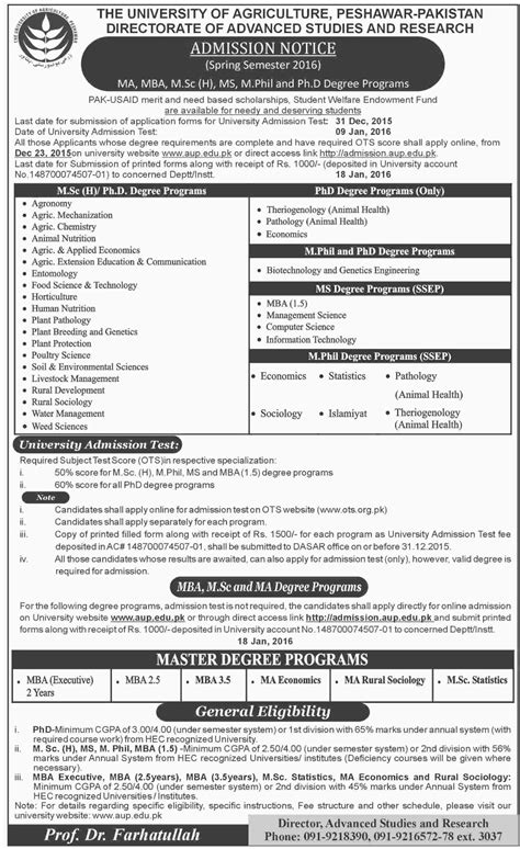 Mba Application Form 2016 by Of Agriculture Peshawar Admission 2016 Mba Msc