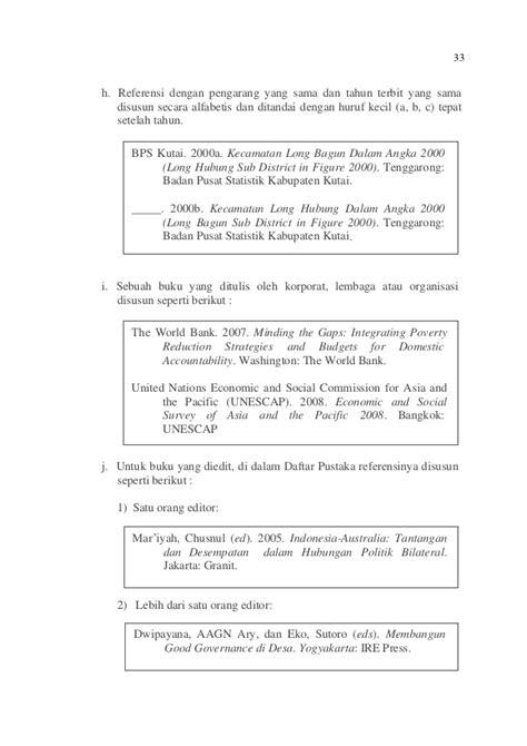 penulisan daftar pustaka badan pusat statistik pedoman penulisan karya ilmiah