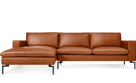 Leather Sofa Chaise New Standard Leather Sofa With Chaise Hivemodern