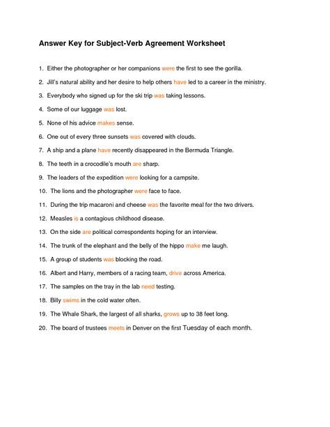 Subject Verb Agreement Worksheet With Answers 14 best images of worksheet present simple exercises