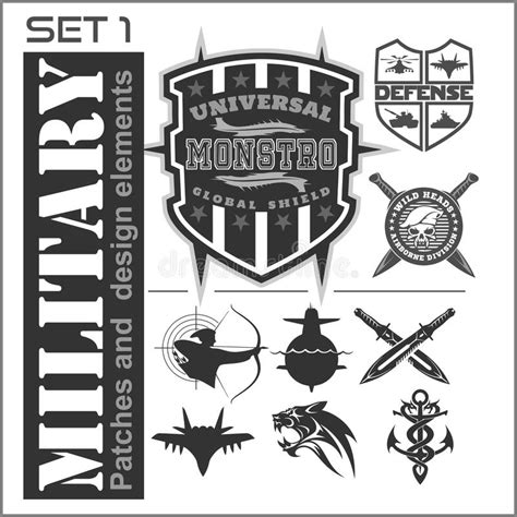 military design elements 25 vector set of military patches logos badges and design elements