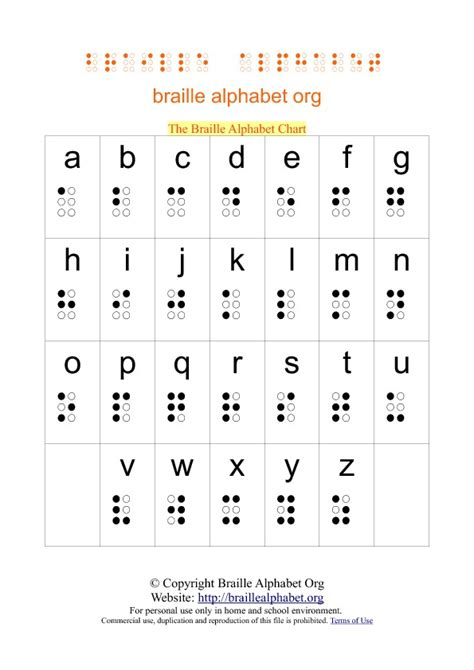 printable alphabet a4 printable braille alphabet charts in pdf braille