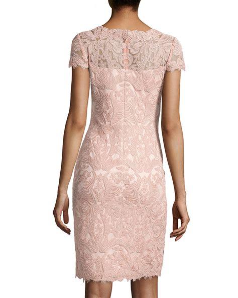Embroidered Sheath Dress lyst tadashi shoji lace embroidered sheath dress in pink