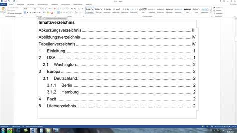 Word Vorlage Inhaltsverzeichnis word automatisches inhaltsverzeichnis und seitenzahlen