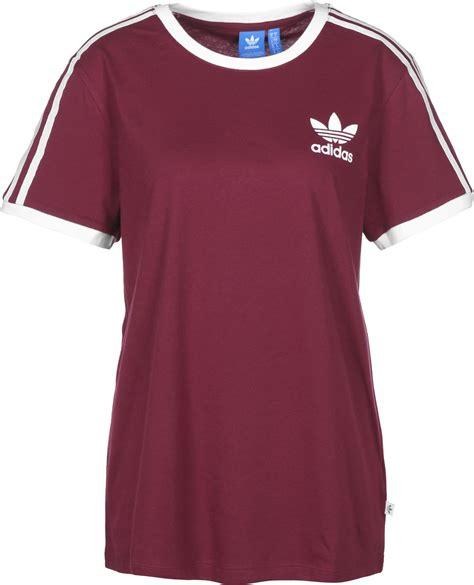 adidas 3 stripes w t shirt maroon