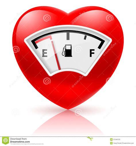 imagenes de corazones vacanos coraz 243 n con el indicador de combustible fotos de archivo