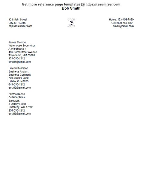 exle of reference page for resume reference page exle