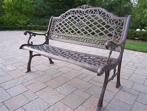 cast aluminum patio bench oakland living mississippi cast aluminum high back
