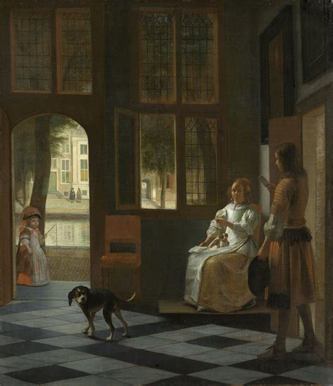 woman of the house man handing a letter to a woman in the entrance hall of a house pieter de hooch 1670
