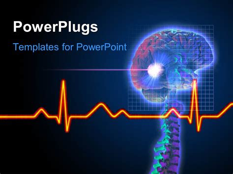 templates for powerpoint brain powerpoint template ecg wave in front and brain tumor