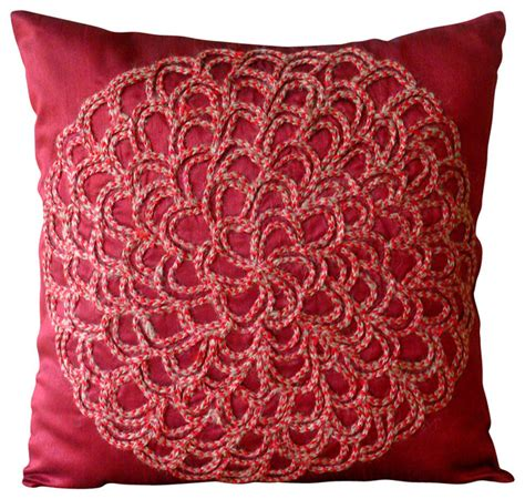 red throw pillows for bed blossoming decorative deep red silk throw pillow cover