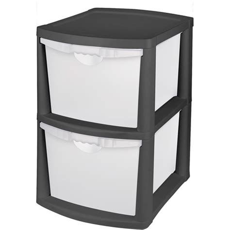 sterilite plastic drawers black sterilite large 2 drawer unit black walmart