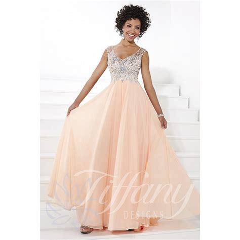 design dress with beads tiffany designs 16091 v neck empire waist beaded straps