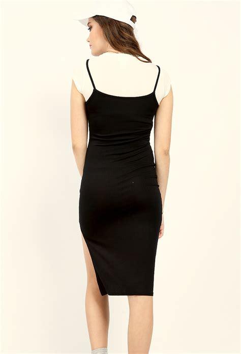 Slit Side Bodycon Dress layered side slit bodycon dress shop dresses at papaya