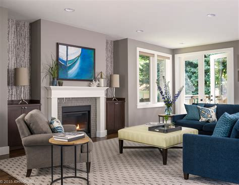 Blue Transitional Living Room Blue Grey Color Scheme For Transitional Living Room With