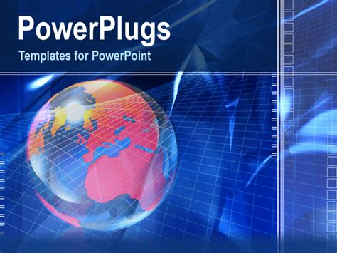 Powerpoint Template An Earth Globe On A Blue Background With Patterns 1556 Powerplugs Powerpoint Templates
