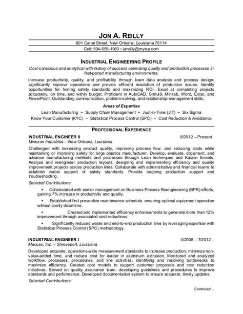 Industrial Engineer Resume Sample by Industrial Engineer Resume Sample Monster Com