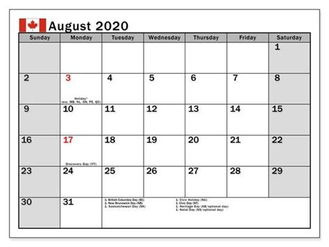 august  calendar  holidays canada  printable calendar calendar calendar template