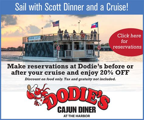 dinner on a boat in rockwall tx sail with scott dinner offer dodie s cajun diner at the