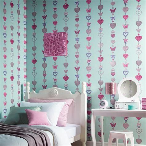 heart bedroom girls wallpaper themed bedroom unicorn stars heart glitter