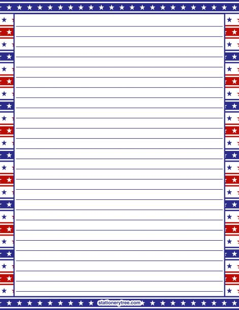 free printable patriotic lined paper printable patriotic stationery and writing paper multiple