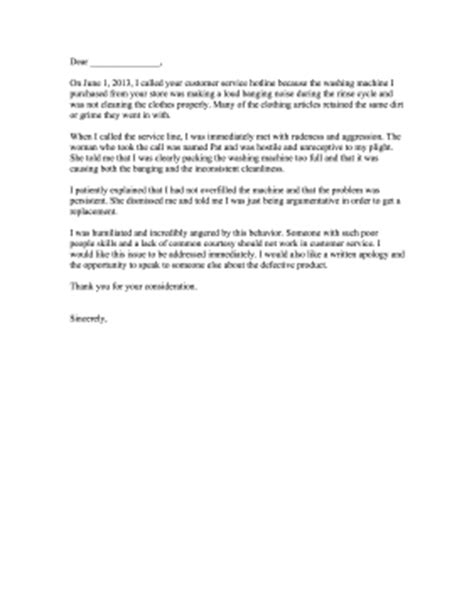 Complaint Letter Washing Machine Bad Customer Service Complaint Letter