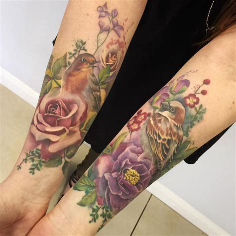 half sleeve watercolor tattoo of different flowers collection of 25 watercolor flower and bird tattoos for